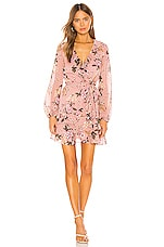 Bardot Frill Floral Dress in Soft Pink Floral