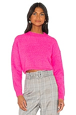 Bardot Cropped Fluffy Knit in Neon Pink