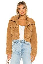 Bardot Crop Sherpa Jacket in Tan