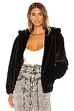 Bardot Gigi Zip Faux Fur Jacket in Black