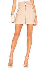 Bardot Mini Leather Skirt in Nude