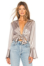 Bardot Shimmer Tie Top in Silver