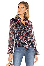 Bardot Floral Blouse in Navy