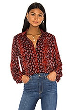Bardot Mona Leopard Blouse in Red Grey Leopard