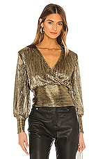 Bardot Trinity Pleat Blouse in Gold