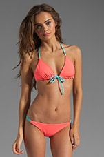 Reversible Palmas T-Back Braided Bikini Top in Bright Coral/Zebra/Aqua