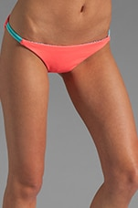 Reversible Palmas Braided Side Tie Bottom in Coral/Zebra/Aqua