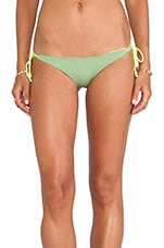 Kikitas Reversible Ruched Bottom in Army/New Nude/Neon Yellow