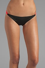 Zunzal Reversible Bungee Bikini Bottom in Noir/Ivory/Hot Coral