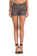 Jovita Paisley Lurex Brocade Shorts in Syrah Red