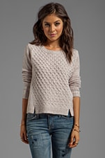 Colette Diamond Cable Speckly Sweater Knit in Wheat Beige