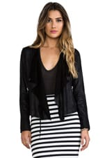 Lux lamb Leather Moto Jacket in Black
