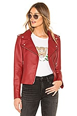 BB Dakota Just Ride Faux Leather Jacket in Brick Red