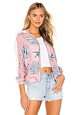 BB Dakota Palm Before A Storm Bomber Jacket in Pink Blossom