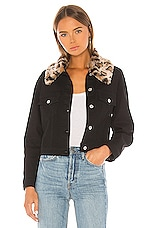 BB Dakota Cant Meow Faux Fur Collar Denim Jacket in Black