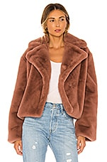 BB Dakota Big Time Plush Faux Fur Jacket in Rose Taupe