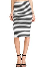 Cayleen Striped Pencil Skirt in Black & White