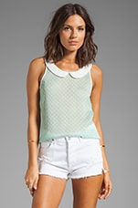 BB Dakota Clarendon Peter Pan Collar Dot Tank in Mint Julep