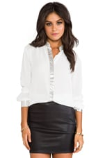 Wheeler Lame Trim Blouse in Dirty White