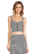 Lila Striped Crop Top in Black & White
