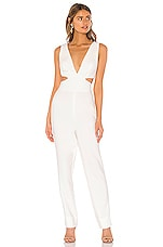 BCBGMAXAZRIA Plunging Jumpsuit in Off White