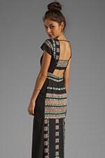 BCBGMAXAZRIA Embroidery Maude Maxi Dress in Black Combo