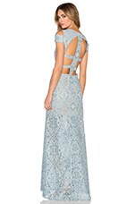 BCBGMAXAZRIA Ava Cut Out Gown in Blue Frost Combo