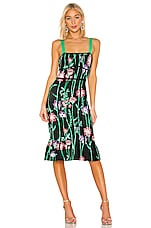 BCBGMAXAZRIA Floral Midi Dress in Black Combo