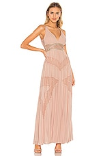BCBGMAXAZRIA Eve Pleated Gown in Bare Pink