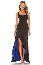 BCBGMAXAZRIA Colorblock Gown in Black