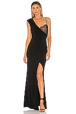 BCBGMAXAZRIA One Shoulder Lace Bust Gown in Black