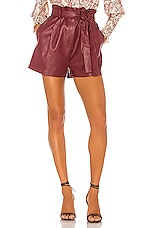 BCBGMAXAZRIA Faux Leather Shorts in Deep Red
