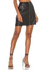 BCBGMAXAZRIA Leather Lace Up Mini Skirt in Black