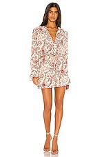 BCBGMAXAZRIA Long Sleeve Romper in Antique White & Floral Toile