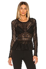 BCBGMAXAZRIA Knit Lace Top in Black