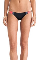 Short Lines Skimpy Bottom in Black & Coral