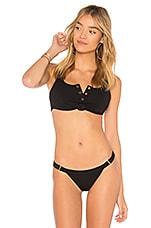 Beach Bunny Rib Tide Bikini Top in Black