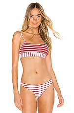 Beach Bunny Emerson Bralette Bikini Top in Red White Stripe