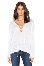 V Neck Lace Up Top en Blanc