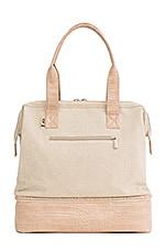 BEIS Mini Weekend Bag in Beige & Croc Trim