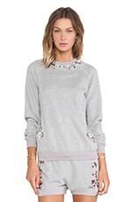 Crystal Neckline Sweatshirt in Light Grey