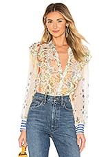 HEMANT AND NANDITA Crinkle Chiffon Shirt in Multicolor