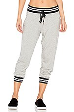 Varsity Cropped Sweatpant in Light Heather Grey