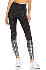 Beyond Yoga High Waisted Alloy Ombre Midi Legging in Black Iridescent Speckle