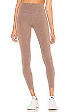 Beyond Yoga Plush High Waisted Midi Legging in Pink Lei Heather
