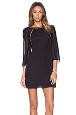Flutter Sleeve Shift Dress in Black