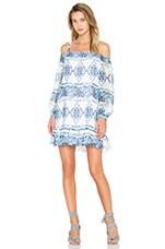 BCBGeneration Cold Shoulder Halter Dress in Blue Combo