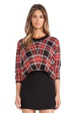 Plaid Sweater in Black & Red Combo