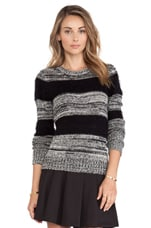 Mix Marled Crew Neck Sweater in Black Combo