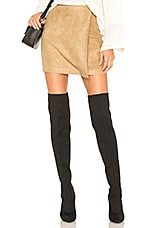 BCBGeneration A Line Faux Suede Skirt in Dark Camel